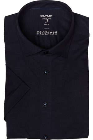 Olymp Herren Business - Halbarm-Hemd Level Five 24/7 Body Fit blau