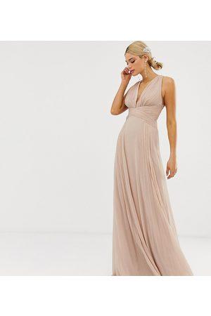 ASOS Tall ASOS DESIGN Tall Bridesmaid ruched bodice drape maxi dress with wrap waist