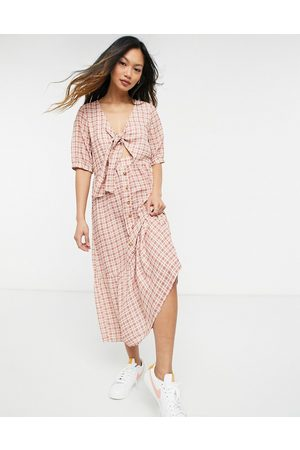 Y.A.S . tie front gingham midi dress in red