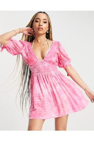ASOS Broderie and crinkle mini beach dress in pink