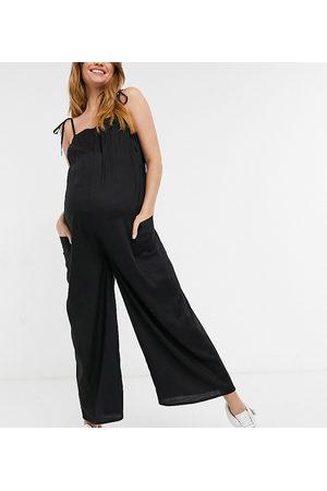 ASOS Maternity ASOS DESIGN maternity cami minimal pocket jumpsuit in black
