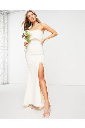 Jarlo Bandeau overlay maxi dress with thigh split in ecru-White