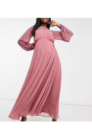 ASOS ASOS DESIGN Matenity maxi dress with linear yoke embellishment-Blue