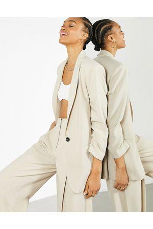 ASOS Oversized longline blazer in stone-Neutral