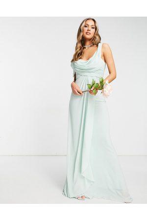 Jarlo Off shoulder drape maxi dress in sage green