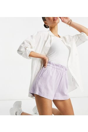 ASOS ASOS DESIGN Tall washed 3 piece linen suit shorts with paperbag waist in lilac-Purple