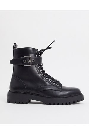 Pimkie Lace up cleated sole ankle boots in black