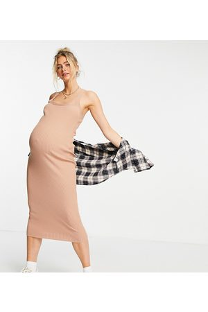 ASOS ASOS DESIGN Maternity knitted rib midi dress with square neck in camel-Neutral