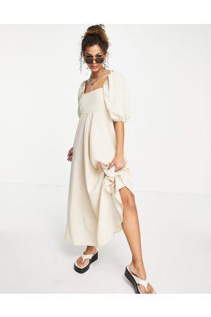 ASOS Trapeze maxi dress in beige gingham-Multi