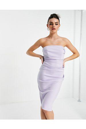 River Island Ruched bandeau bodycon midi dress in purple