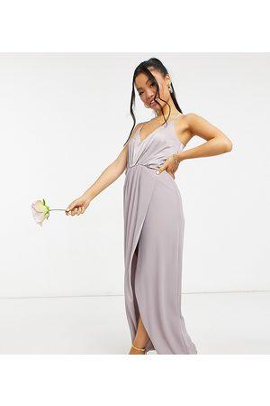 TFNC Bridesmaid satin halterneck top maxi dress in grey