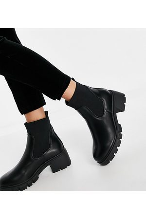 ASOS Wide Fit Robbie chunky chelsea boots in black