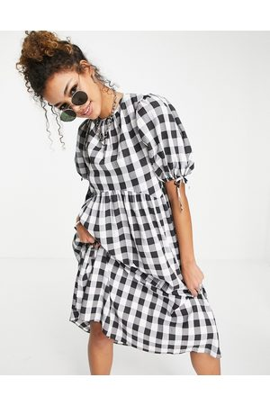 ASOS Gingham midi smock dress with puff sleeve and open back-Multi