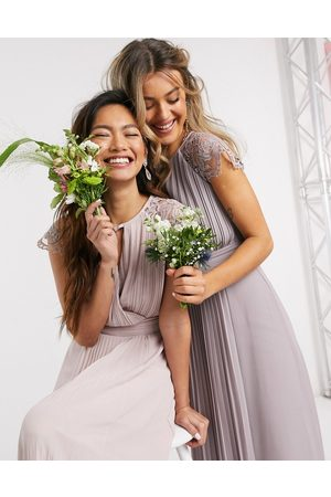 TFNC Bridesmaid lace sleeve maxi dress in