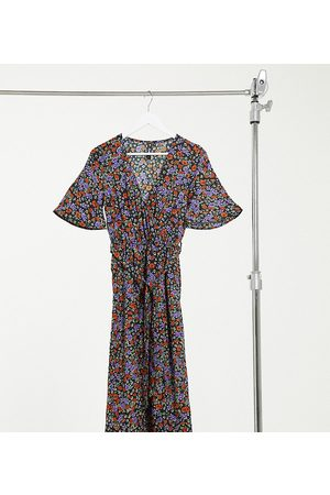 Influence Wrap front midi dress with split in floral print