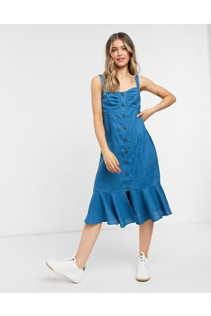 Lottie And Holly Button through frill hem midi dress in blue