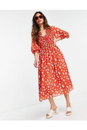 ASOS Damen Bedruckte Kleider - Midi smock dress with shirred cuffs in cream floral print-Multi