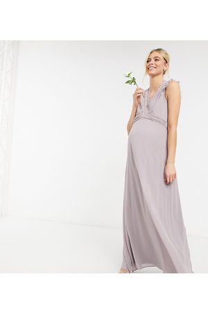 TFNC Bridesmaid lace trim plunge front maxi dress in grey