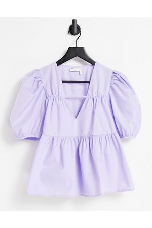 ASOS Cotton smock top with v neck in lilac-Purple