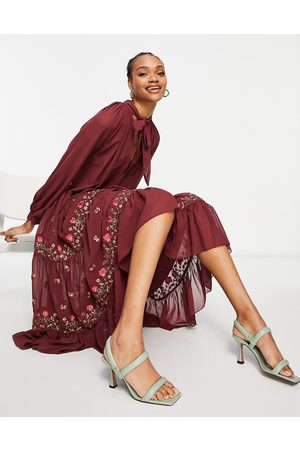 ASOS All over embroidered high neck tiered maxi dress in oxblood