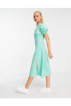 Influence Midi dress with tie sleeves in green gingham