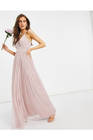 ANAYA With Love Bridesmaid tulle plunge front maxi dress in pink