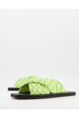 ASOS Forgetful padded cross strap woven mules in lime green