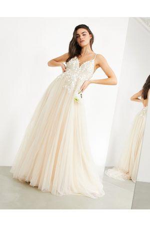 ASOS Francesca plunge wedding dress with tonal embroidery-White