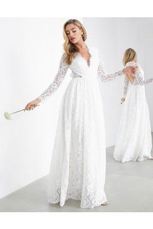 ASOS Penelope V neck lace wedding dress with open back-White
