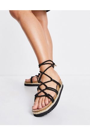 South Beach Espadrille rope sandals in black