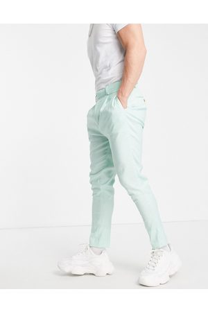ASOS Tapered smart trousers in mint green linen