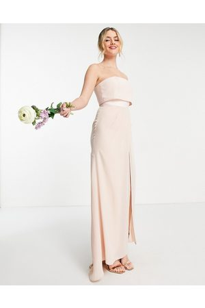ASOS Bridesmaid bandeau layered maxi dress with pleated wrap skirt-Pink