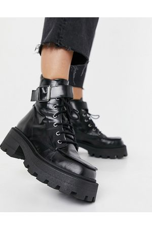 ASOS Acute leather chunky square toe lace up boots in black