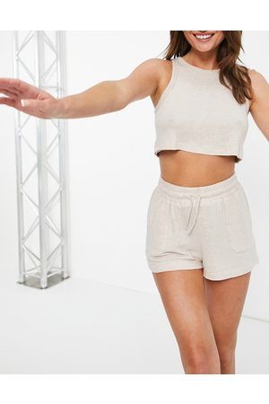 Topshop Knitted crop vest in oat-Neutral