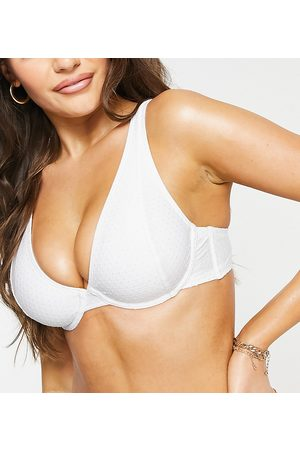 Peek & Beau Fuller Bust Exclusive underwire bikini top with frill in textured white spot