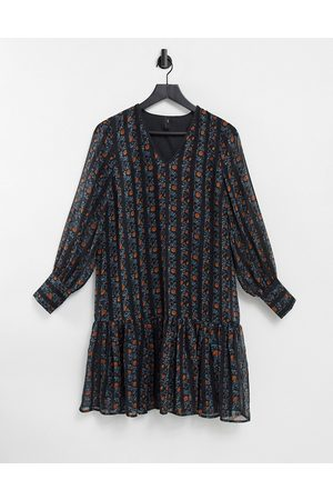 Y.A.S Chiffon smock dress with drop hem in mixed floral and stripe-Multi