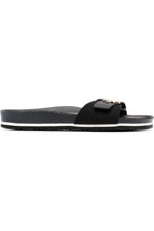 Tommy Hilfiger Damen Sandalen - Logo-plaque leather sandals