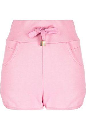 Balmain Damen Shorts - Embossed-logo shorts
