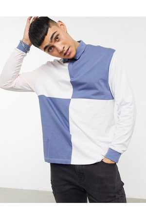ASOS Plus relaxed long sleeve rugby polo shirt in colour block-Purple