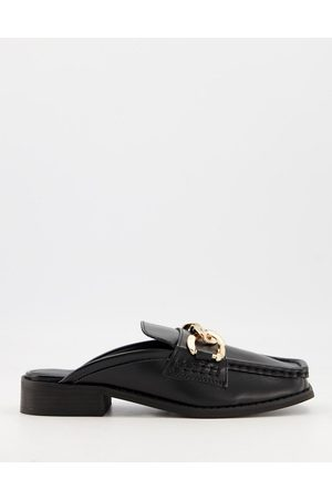 Truffle Collection Loafer mules with chain detail in cream-White