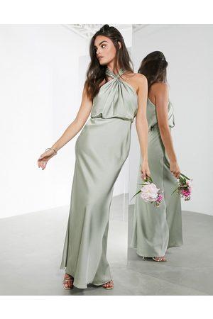ASOS Satin ruched halter neck maxi dress in sage