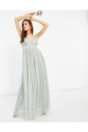 ANAYA Damen Lange Kleider - With Love Bridesmaid tulle plunge front maxi dress in pink