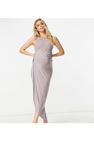 Club L Club L London Maternity asymmetric wrap midaxi dress in mauve-Purple