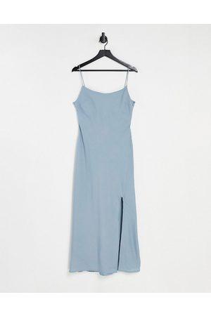 ASOS Linen cami maxi dress in duck egg-Blue