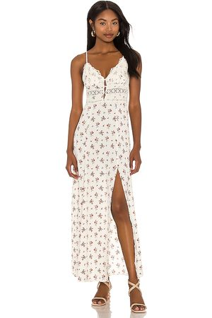Free People Out And About Maxi Slip Dress in - Ivory. Size L (also in M, S, XS).