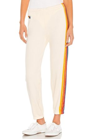 AVIATOR NATION 5 Stripe Sweatpant in - Ivory. Size L (also in M, S, XS).