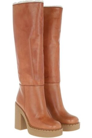 Prada Knee Boots Leather - in cognac - Boots & Stiefeletten für Damen