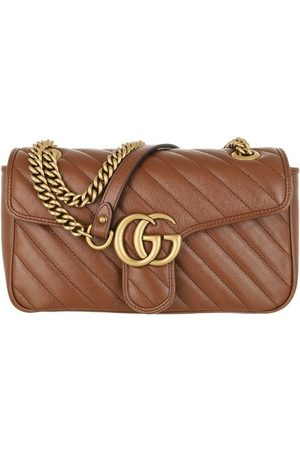 Gucci Crossbody Bags GG Marmont Small Crossbody Bag Matelassé Leather - in brown - Umhängetasche für Damen