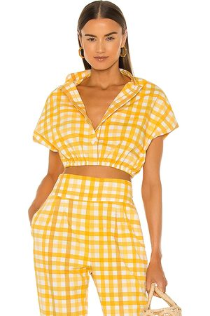 SWF Damen Tops - Cap Sleeve Crop Top in - Yellow. Size L (also in XS, S, M).