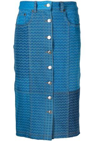 Marine Serre Damen Bedruckte Röcke - Moonfish-print denim skirt